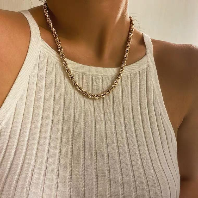 Wholesale Hip Hop gold chain 316L Stainless Steel Gold Necklace 18k Gold Rope Chain