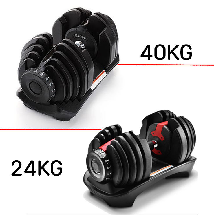 Hot selling 24kg adjustable dumbbell 40kg adjustable dumbbell set gym equipment dumbbell weights