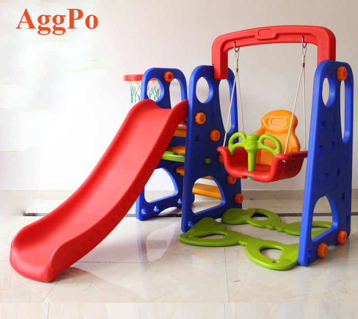 Toddler Climber and Swing Set 3 in 1 Kids Play Climber Slide Play Set Indoor Outdoor Playground Toy with Basketball Hoops