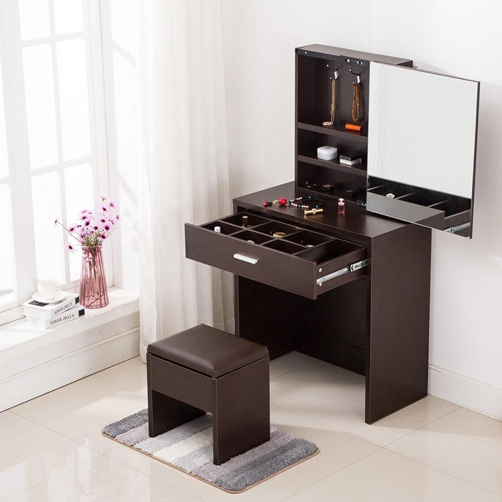 Simple Multi-functional Dressing Table with Large Sliding Mirror & Leather Stool Storage