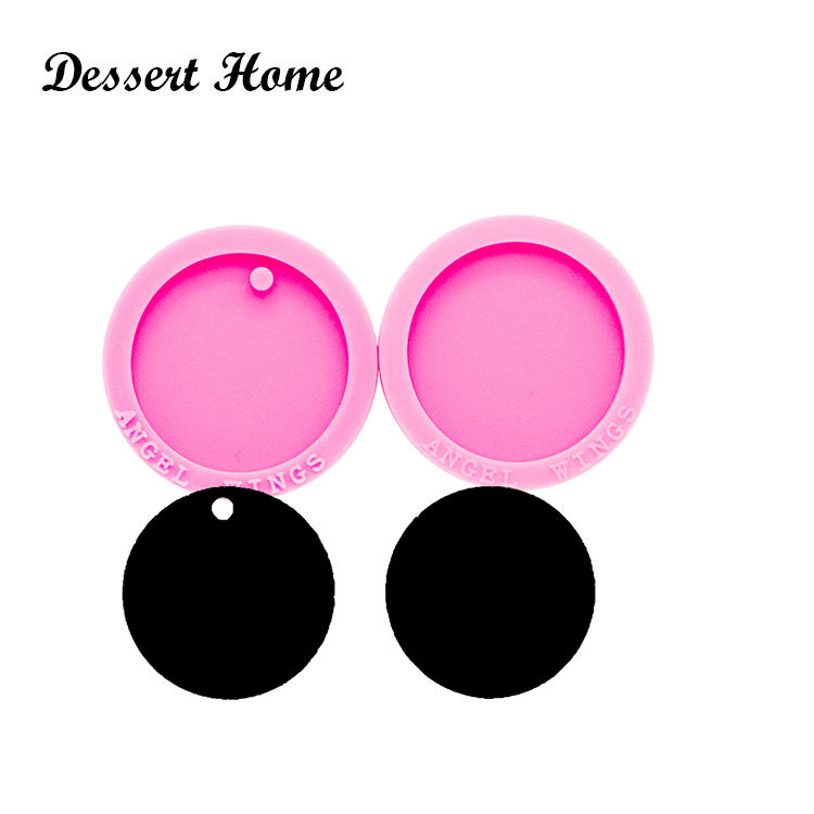 DY0260 Shiny 1.5 inch circle silicone keychain molds mold DIY round epoxy and resin craft molds Key ring accessories