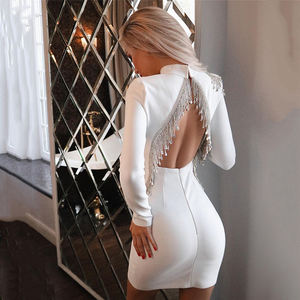 C2287 Hot Selling Black Long Sleeve Backless Diamond Tassel Sexy Women Dresses Bandage Formal Dress Women