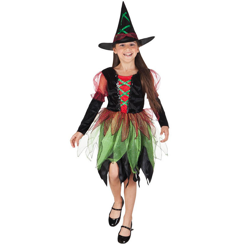 Factory hot sale Halloween Carnival kids children good fairy girl witch costume