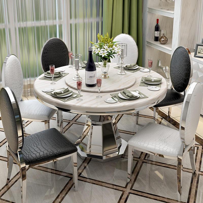 Pas cher moderne maison table à manger et chaise en acier inoxydable marbre table à manger ronde en métal table et chaise avec plateau tournant