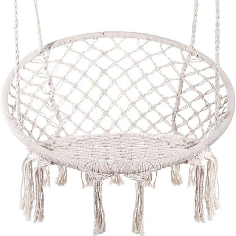 Hanging Hammock Chair Macrame Swing for Indoor, Outdoor, Patio, Porch, Deck, Yard, Garden