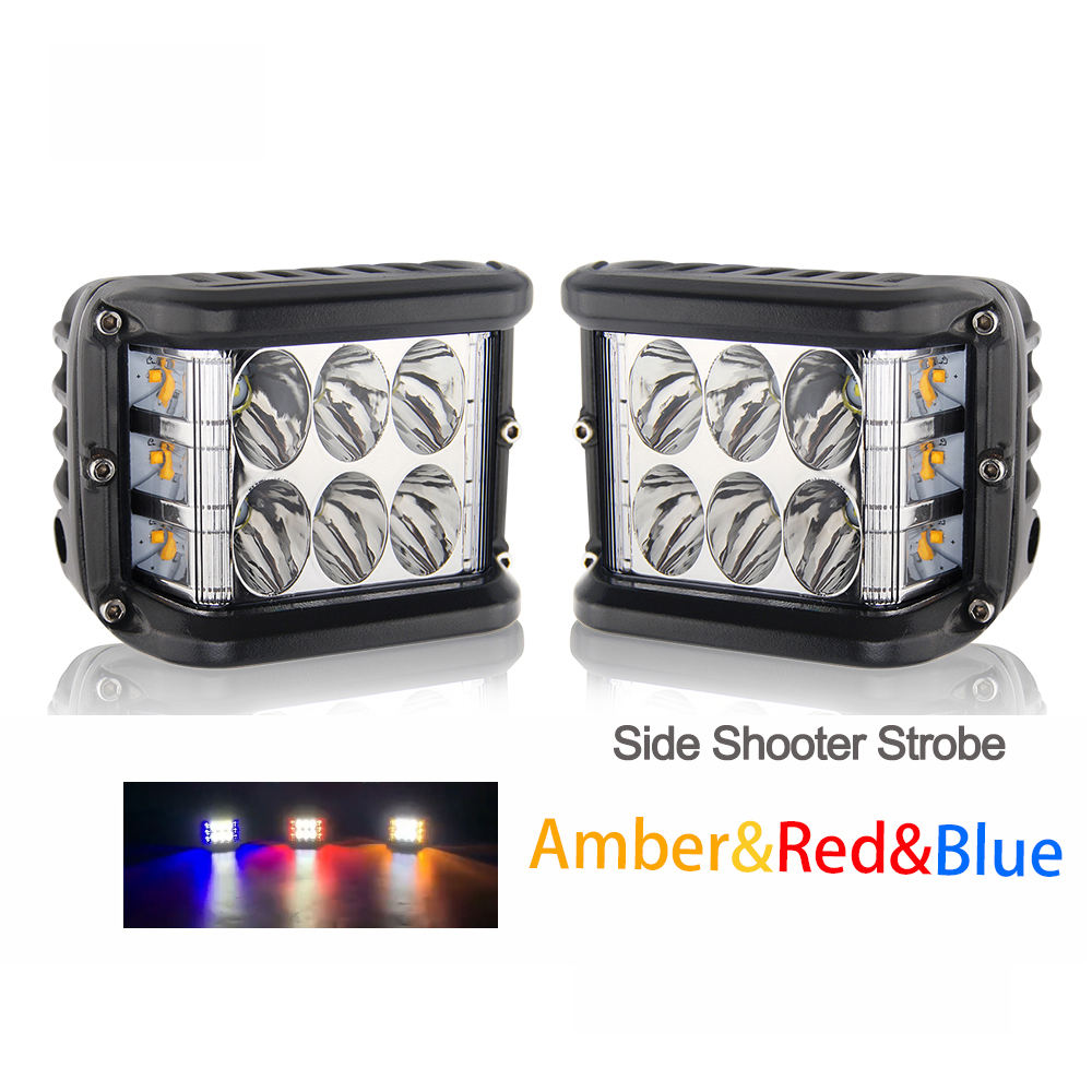 Wholesale Auto Lighting System Offroad Side Shoot Flashing Strobe 3000K 6500K 12V 72W Pod Light 3Inch Motorcycle Led Work Lights