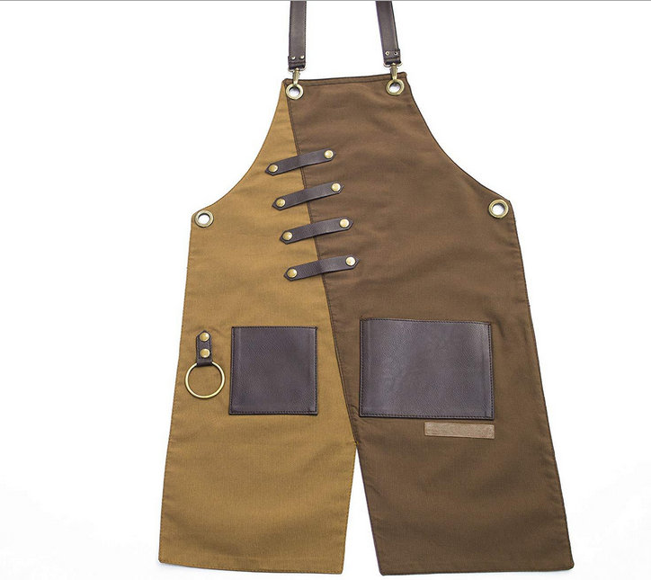 Work apron with tool pocket and adjustable shoulder straps aprons