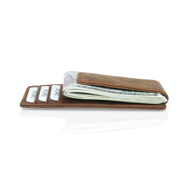 wholesale cheap rfid credit card holder slim magnetic custom wallet leather money clip