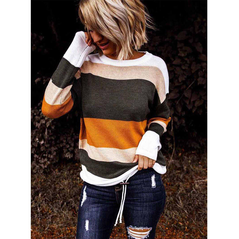 High Quality Women's Casual Round Neck Color Block Knit Sweater