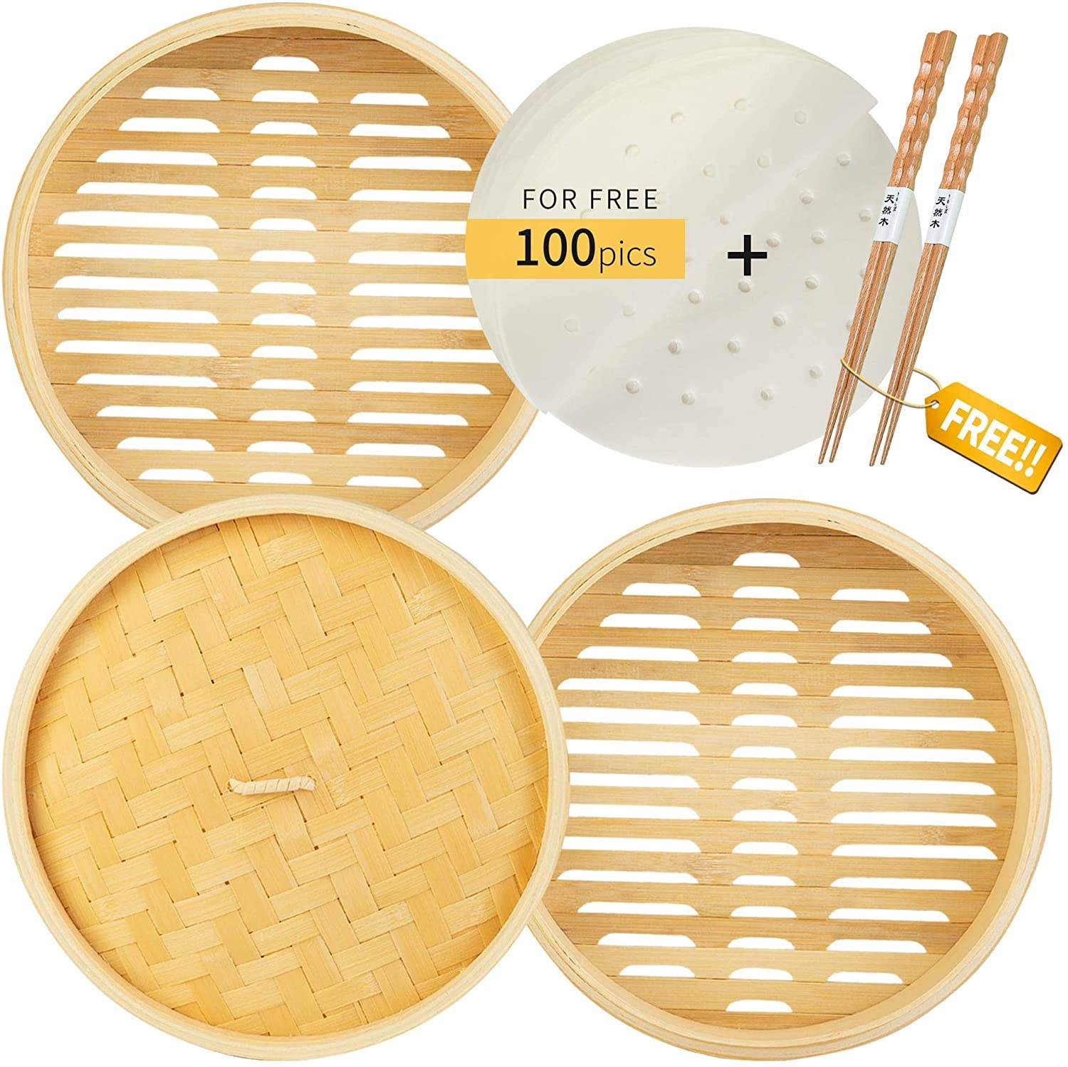 Natural Bamboo Steamer Basket 10 inch, 2 Tier Baskets & Lid, Healthy Cooking for Vegetables