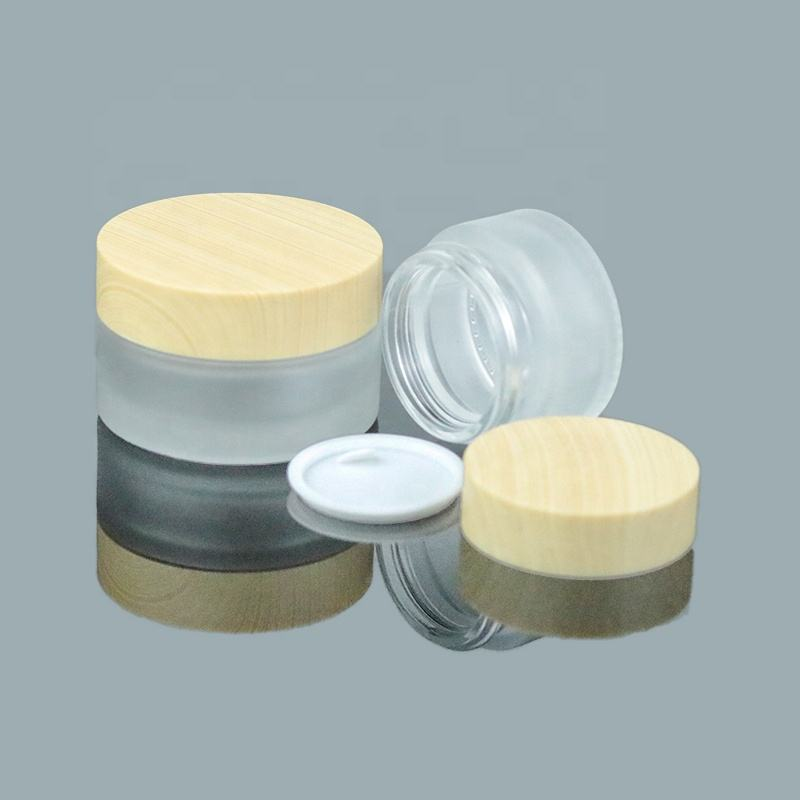 2021 Luxury 5g 10g 20g 30g 50g Glass Jar Wooden color Lid Frosted Round Face Cream Empty Cosmetic Glass Jars (GJM62)