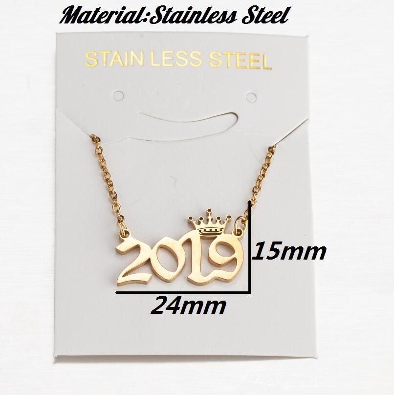 Dropshipping 1980-2020 New Stainless Steel Birth Year Necklaces old english Custom Number Personalized crown year Necklace