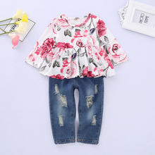 Fall Spring Clothes Kids Long Sleeve Outfits Girls Princess Floral Tops Hole Jeans Pants 2pcs Children Boutique Clothing Sets