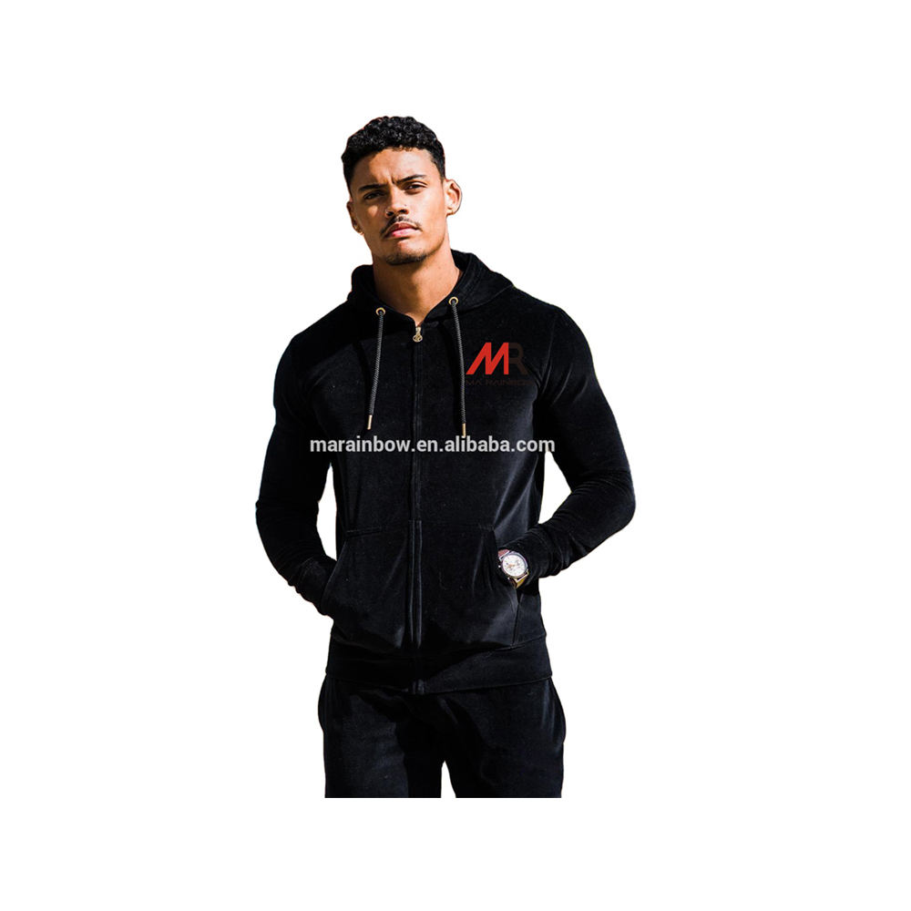 Black 80% Cotton 20% Polyester Velour Tracksuit Top Full Zip up Gym Hoodie Custom Mens Tracksuit