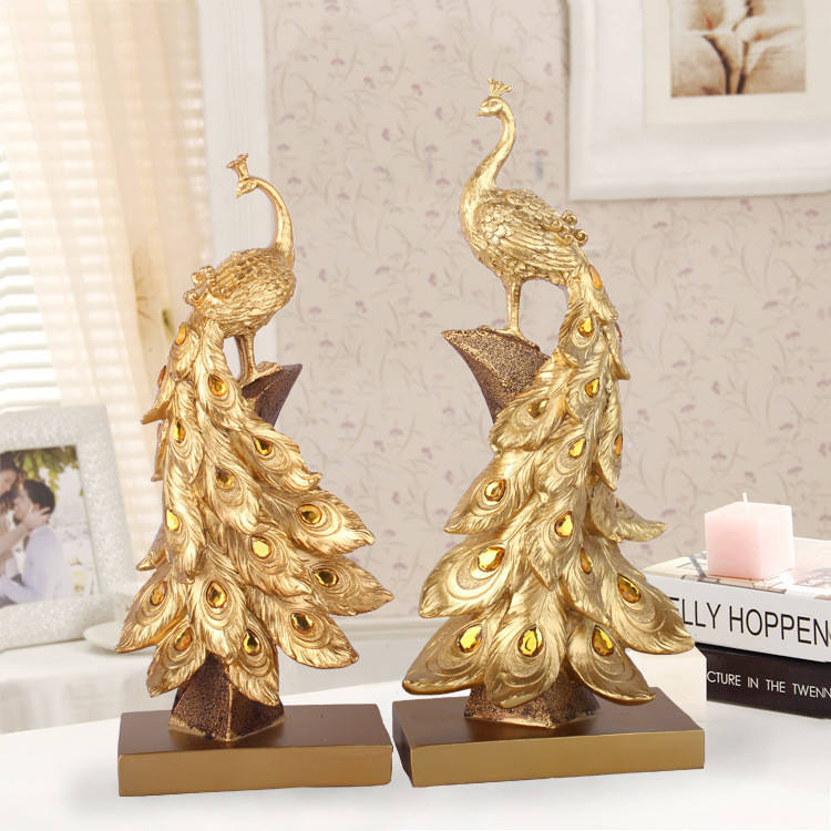 home decoration animal sculpture resin peacock