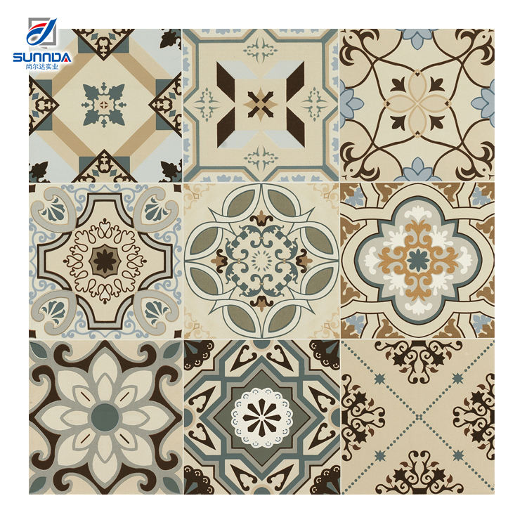 New Arrival High Quality Wholesale 600X600Mm Bedroom Handmade Encaustic Glazed Flower Pattern Wall And Floor Tile