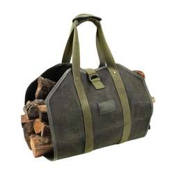 Heavy Duty Waxed Canvas carry bag handle bag wood Firewood Log Carrier Tote Bag