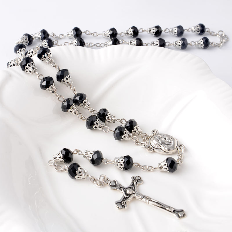 Wholesale Crystal Beads Rosary With Maria Hold Child Christian Rosaries Necklace