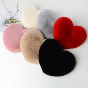 Fashion Women Gold Chain Faux Fur Wallet Purse Crossbody Heart Shaped Shoulder Bag