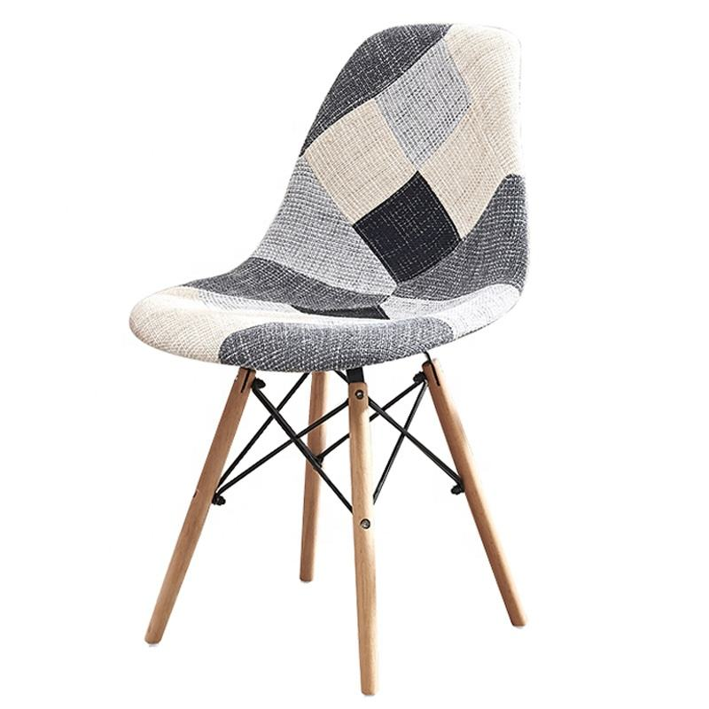 Free sample modern Nordic design Dining Room Furniture patchwork Wooden leg fabric dining chair for sale