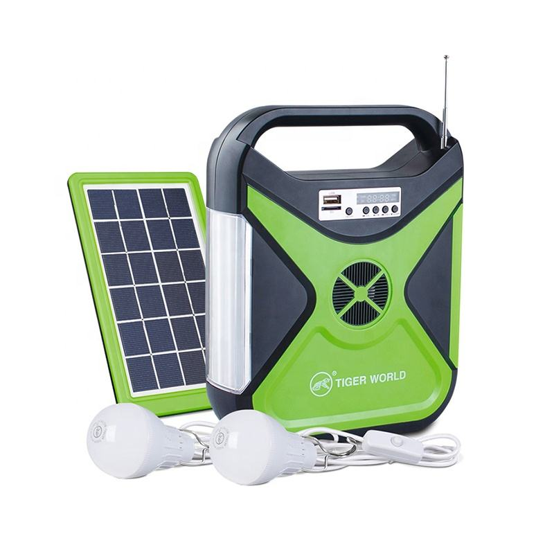 Radio and music function rechargeable led solar emergency light with usb port