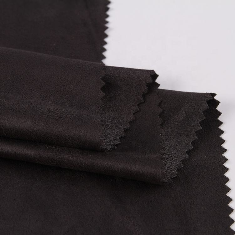 In stock 100% Polyester black plain dyed microfiber faux suede upholstery fabric for shoes sofa garment cushion cover