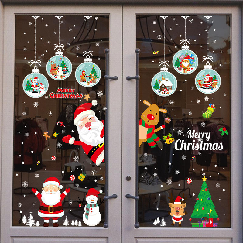 Christmas Wall Window Stickers Christmas Decoration For Home 2020 Merry Christmas Ornaments Xmas Happy New Year 2021