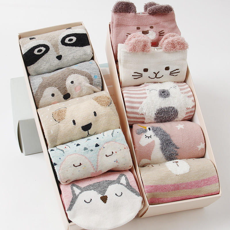 2020 manufacturer hot sale 5 pairs gift box women animal lovely custom comfortable winter socks