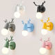 Nordic LED E27 Wall lamp Colorful Cartoon Deer Antlers Bedroom Reading Sconce Wall Mounted Children Room Lighting wall light