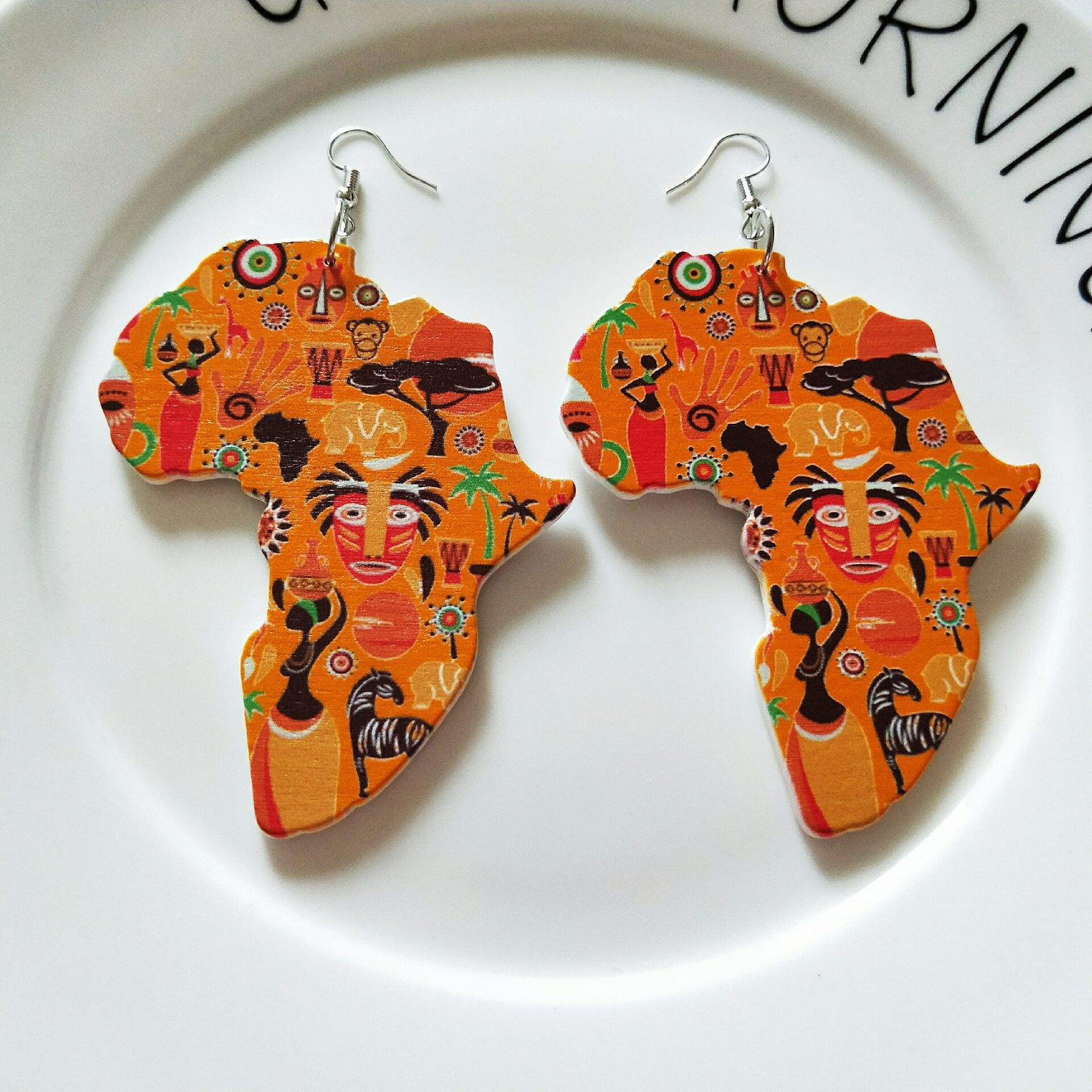 DIY Bohemia Vintage Colorful Painting Tribal Wood Africa Map Earrings Round Wooden African Earring Party Accessory