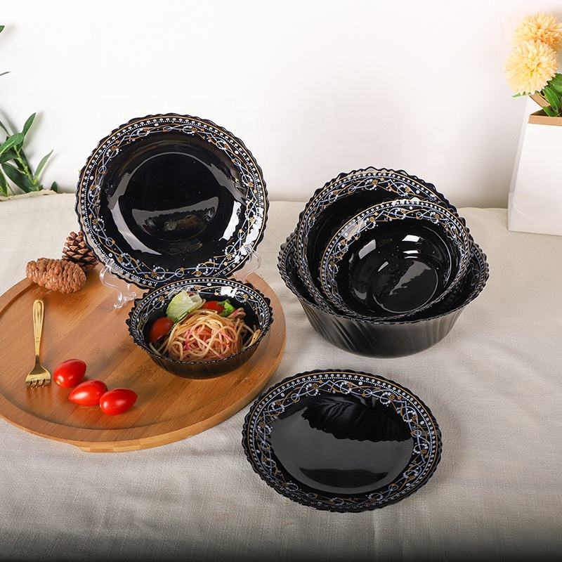 Opal glassware factory in stock black opal glass bowls with multi sizes heat resistant opal glass 6 7 8 9 10.5 inch bowls set
