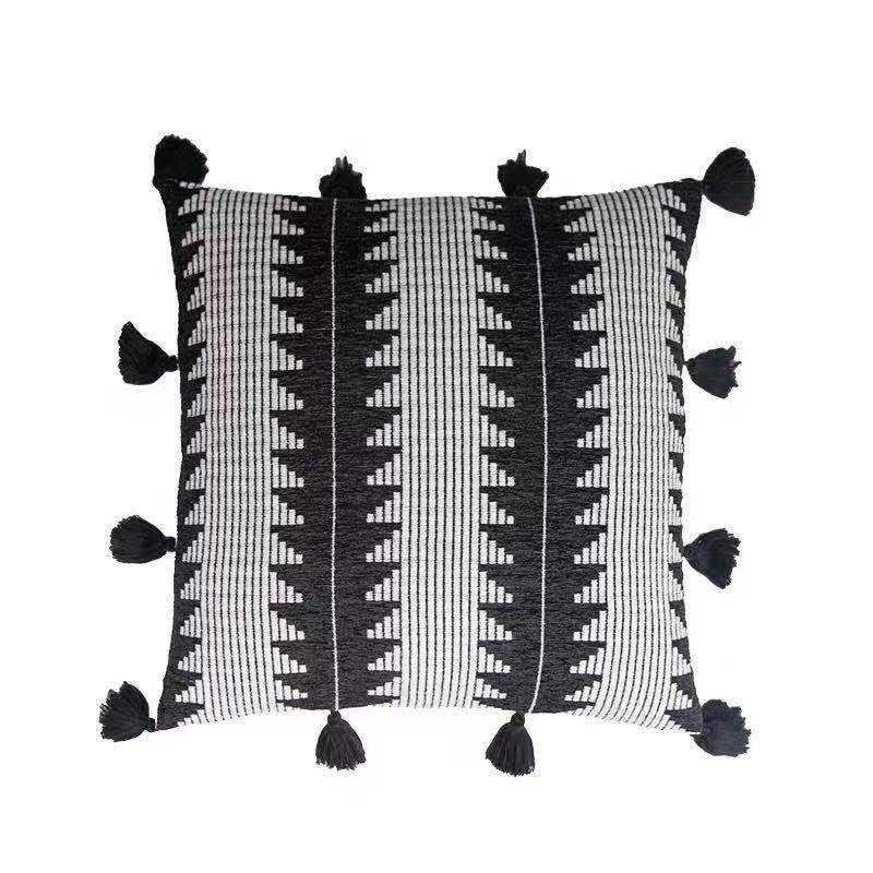 Throw Pillow Cover with Fringe Tassels Moroccan Style Modern Black and White Geometric Sofa Couch Bed Decor Pillows Cushion