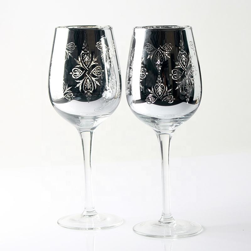 China Suppliers Personalized Glitter Electroplated Wine Glass Silver