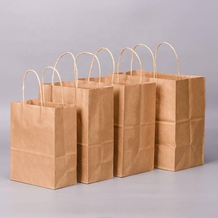 Gift Packaging Bag Gift Brown Paper Bag Biodegradable Brown Kraft Paper Bag With Handles For Shopping Gift Packing