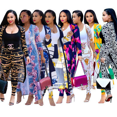 2020 Women Dresses Fall Clothing Lady Elegant Printed Long Coat Leggings Two Piece Set Boutique Clothing