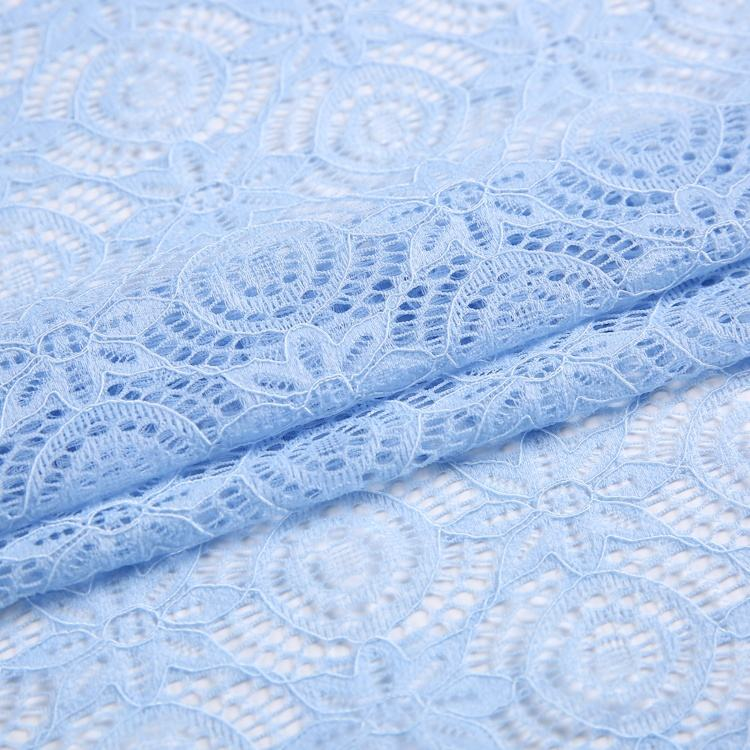 Spandex Warp Knitted Wedding Dress French Blue Lace Fabric for Garment Accessories High Quality Nylon Mesh Fabric 24h Online