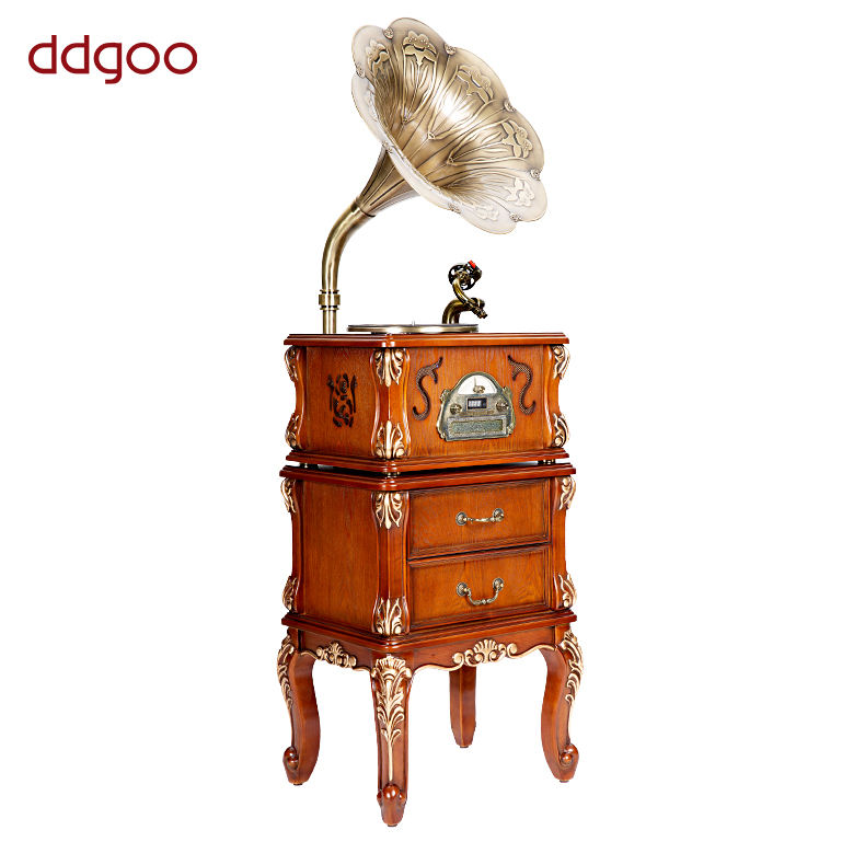 3-Speed Holz Antike Reproduktion Gramophone Mit BT AM FM CD-Player
