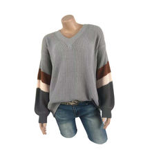 Custom v-neck loose casual lantern sleeve striped color matching sweater