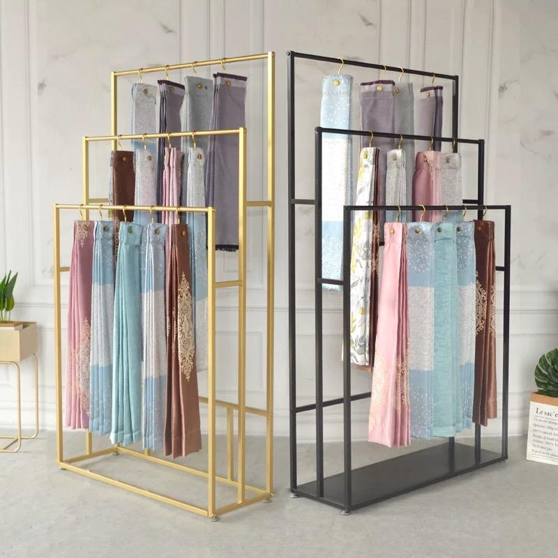 Custom cloth shop floor hanging fabric display racks / scarf display stand / curtain display rack