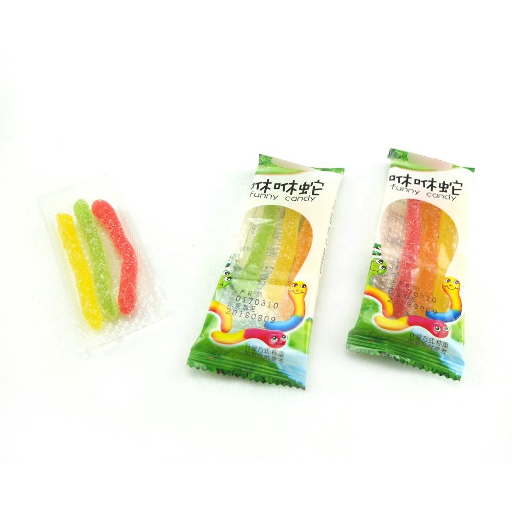 GC-008 Box packing rainbow fruit flavor juicy strip shape icing gummy candy