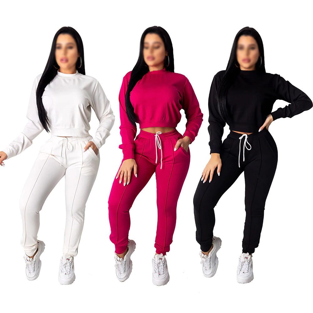 Autumn Winter Women Tracksuit 2 Piece Set Crop Top pants Set Sportswear Matching Set Workout sweat suits women jogging