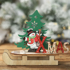 Xmas Festive Decoration DIY Wooden Color Painting Assembly Sleigh Car Ornaments for Christmas Decor Old Man