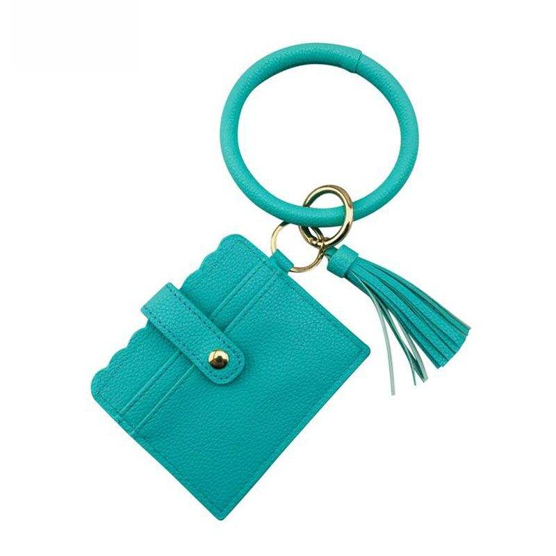Tassel Keychain Wholesale Monogrammed Cow Printed Card Holder With Key Chain Wallet