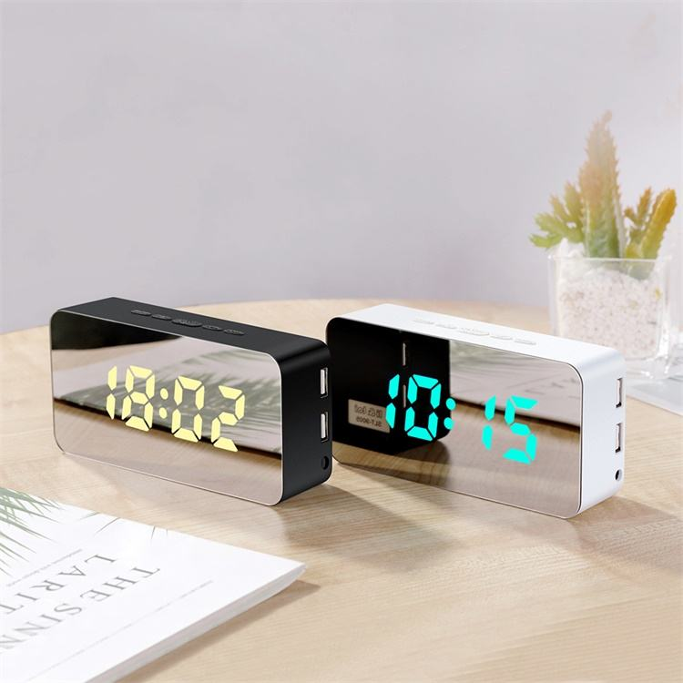 snooze light digital led mirror alarm clock with 2 usb charging ports
