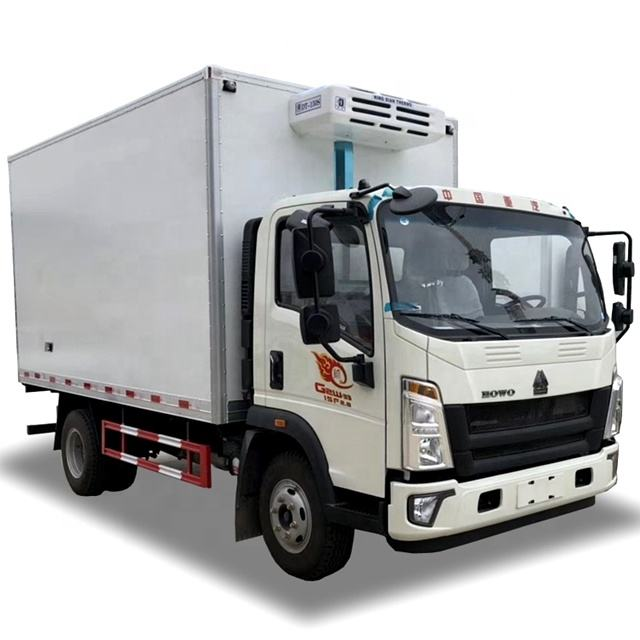 6 Wheels HOWO 4x2 refrigerate truck 4m Cargo Box Freezer Refrigerator Van Truck for Meat and Fish Transport