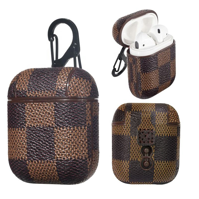 Luxury Grip Checkered PU Leather Earphone Case For Apple Airpods Cover