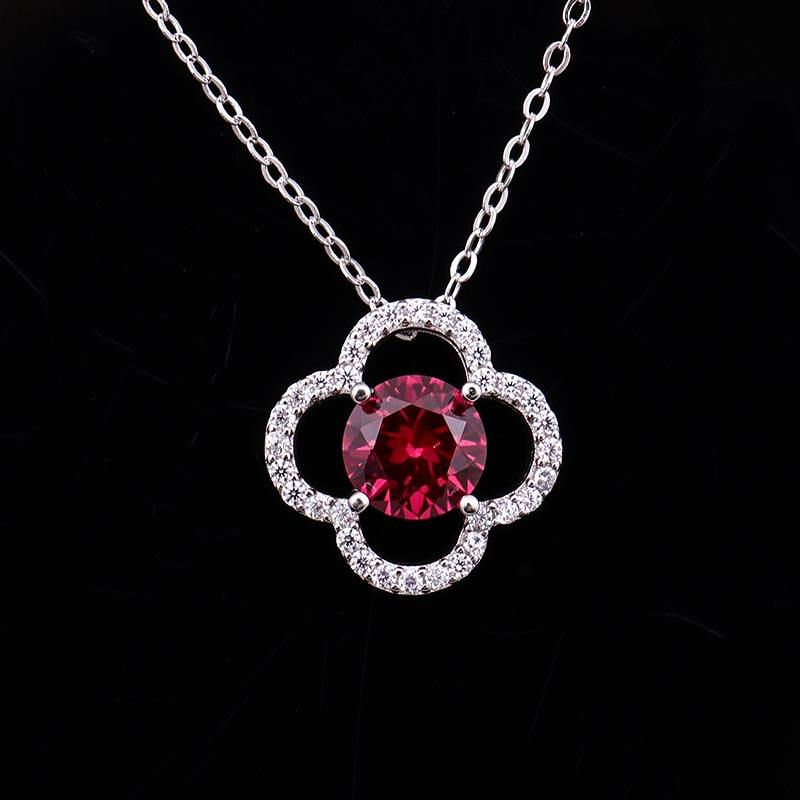 Popular 6.5mm round brilliant cut vivid ruby gemstone initial 925 silver pendant necklace for lover