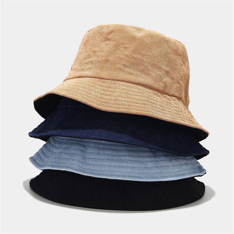 High quality custom logo embroidery two-sided blank corduroy bucket hat
