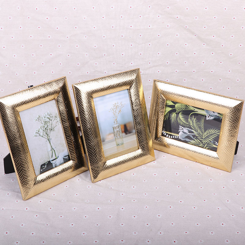 Photo frame gold handmade desktop 6 7 8 10 inch leather photo frame table wedding gift