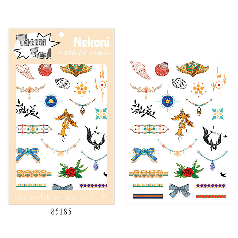 Nekoni Temporary Tattoos Stickers Illustration Sticker Body Arm Painting Fake Jewels Tatoo Girls for Water Transfer Tattoo